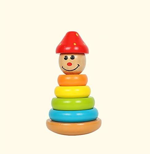 赤ちゃんレインボーサークル玩具ピエロスタックタワー無垢材ジェンガセットタワーブロックタンブラー玩具