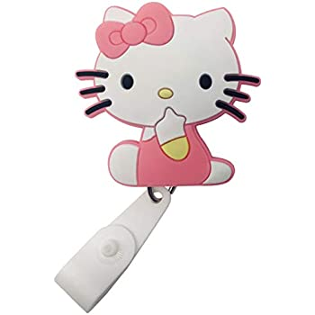 fdc7e9217 Cartoon Retractable Badge Reel - Holder for ID and Name Tag with Belt Clip,  IMPROVED REEL & STRAP (Hello Kitty)