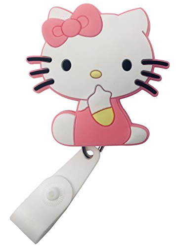 (Cartoon Retractable Badge Reel - Holder for ID and Name Tag with Belt Clip, IMPROVED REEL & STRAP (Hello Kitty))