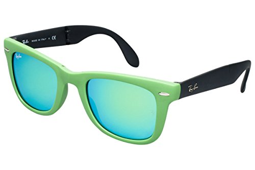 Ray-Ban RB4105 602119 Wayfarer Folding Green Frame/Crystal Mirror Green Lens ()
