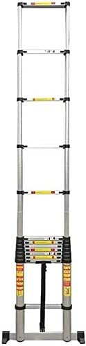 LYQQQQ Portátil Larga Escalera telescópica 4,6 M-7M Escalera Recta Escalera de extensión portátil Escalera Plegable de Aluminio con Barra estabilizadora for Interior al Aire Libre (Size : 5m/16.4ft)