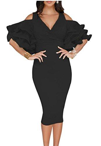 V Women Party Neck Dress Cocktail Black Sleeve Jaycargogo Shoulder Cold Ruffle Midi Bodycon Dress q6Z1xtF