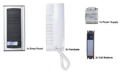 Audio Entry Panel - O9Q - FARFISA 1AEXD 3-WAY DOOR ENTRY AUDIO INTERCOM KIT EXHITO-AGORA SURFACE MOUNTED ENTRY PANEL, 3X HANDSETS & 2X CALL BUTTONS