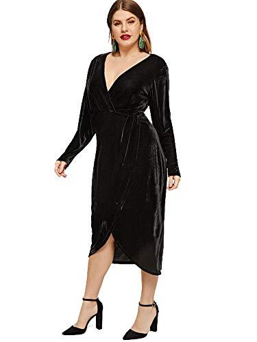4831711c16 ESPRLIA Women s Plus Size High Waist Velvet Sexy Faux Wrap Pencil Cocktail  Midi Dresses (Black