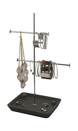 Kenton Gray Jewelry Organizer, 3 Tier Tabletop Bracelet, Necklace, and Ring Dish, On a Cement base and a Silver (Base Cement)