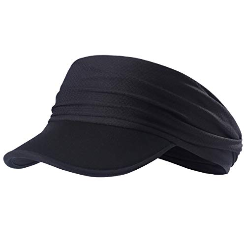 - AXBXCX Yoga Headband Women Headwrap with UV Sun Protective Soft Brim Sun Visor Cap Brim for Fishing Motorcycling Hunting Airsoftball Running Hiking Black