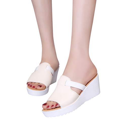 Zeppa Lianmengmvp flop Scarpe Con Sandalo Donna Flat Boemia Eleganti Beige Perline Fiore Aperta Sandali Estate Punta Flip qwExBUIOWO