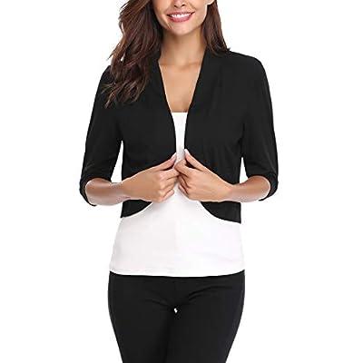 iClosam Women Open Front Cardigan 3/4 Sleeve Cropped Bolero Shrug Cardigan Sweater at Women's Clothing store