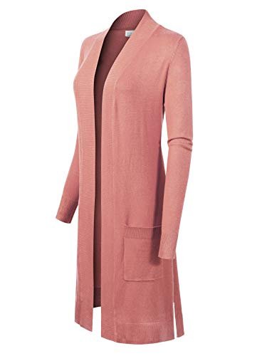 Design by Olivia Women's Solid Soft Stretch Long-Line Long Sleeve Cardigan [S-XL] Dusty Pink XL (Knit Cardigan Stretch)