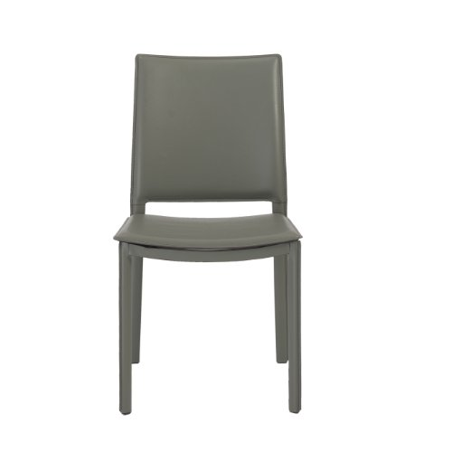 Eurø Style Kate Leatherette Side Dining Chair, Set of 4, Gray
