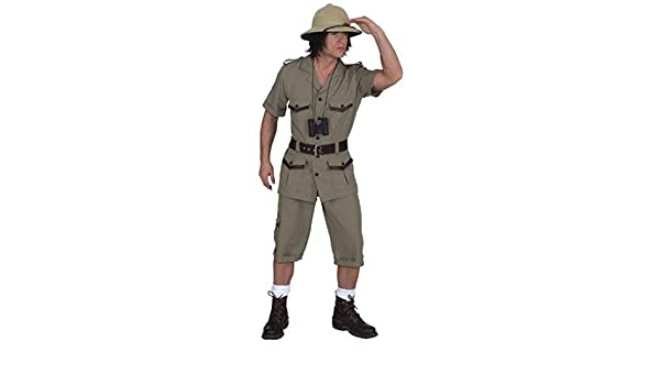 Mens Safari Explorer Jungle TV Film Book Day Stag Do Fancy Dress Costume Outfit