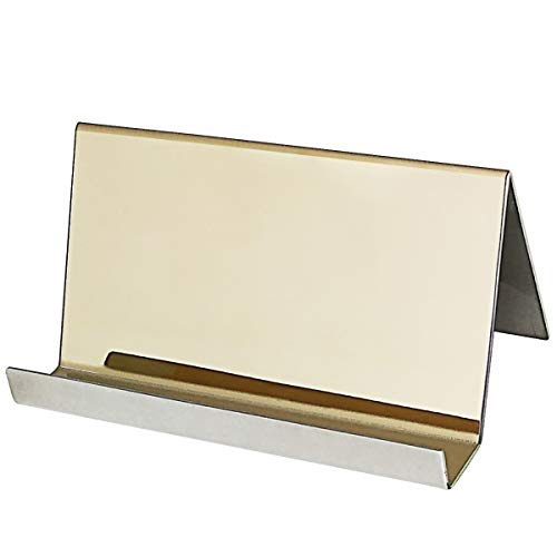 Stainless Steel Business Cards - Stainless Steel Business Card Holder,Topspeeder Desktop Cards Display,Professional Business Card Rack Organizer for Office Business etc (Champagne Gold)