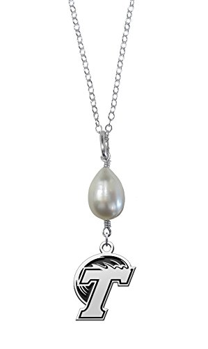 Tulane Green Wave Freshwater Cultured Pearl Drop Charm Necklace (Drop Necklace Wave)