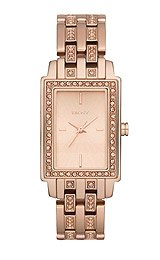 DKNY Women's Crystal Detailed Rose Gold Rectangular Bracelet Watch - NY8625 by DKNY