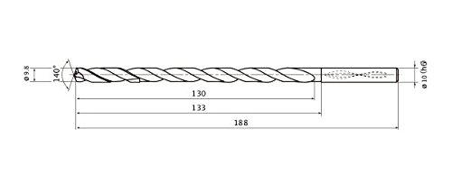1.8 mm Point Length Internal Coolant 9.8 mm Cutting Dia 10 mm Hole Depth Mitsubishi Materials MNS0980X10DB MNS Series Solid Carbide Drill 10 mm Shank Dia.