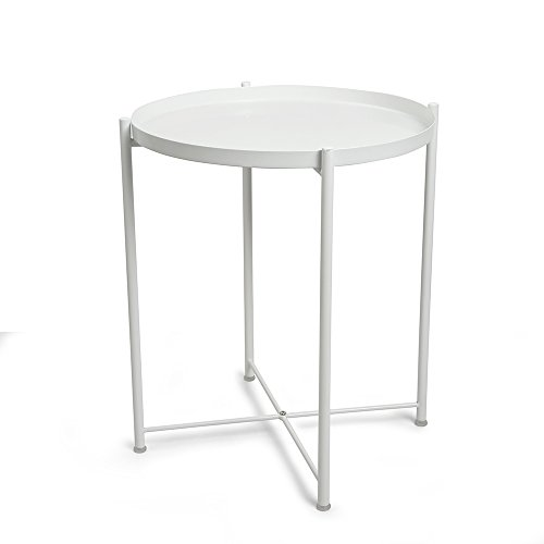CORNERIA Folding Tray End Table - Collapsible Metal Side Table (White) by CORNERIA