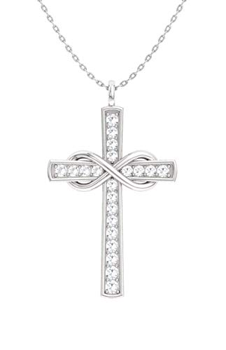 Contemporary Diamond Necklace - Diamondere Natural and Certified Diamond Cross Infinity Necklace in 14k White Gold | 0.14 Carat I1-I2 Quality Pendant with Chain