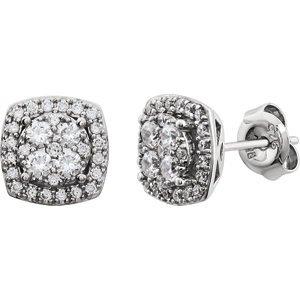 14K Boucles d'oreilles diamant 3/4carat or blanc