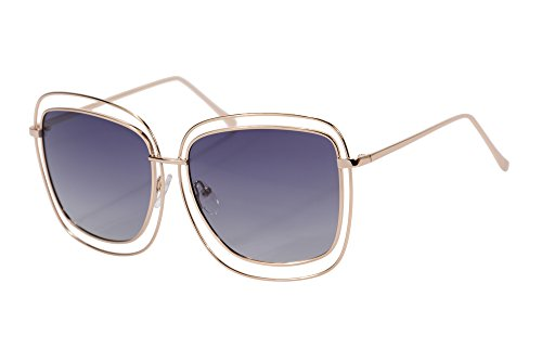 Double Gradient Gold Mirror (SHINU Designer Inspired Double Square Frame Sunglasses Full Mirror Polarized Lens Sunglasses-72006(gold,gradient grey))