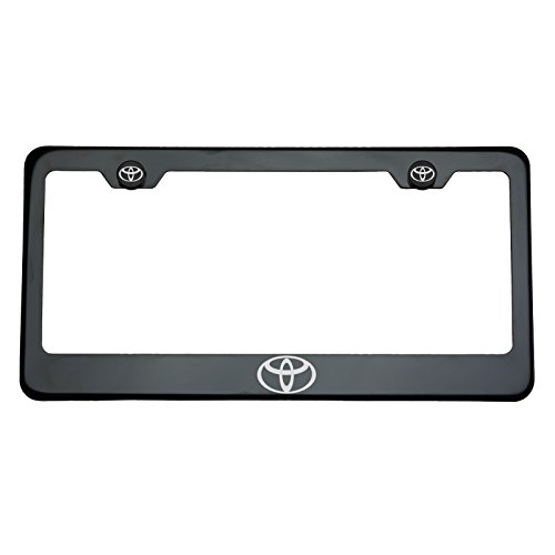 - One Toyota Logo on Black Chrome Stainless Steel License Plate Frame Holder Front Or Rear Bracket Laser Engrave Aluminum Screw Cap