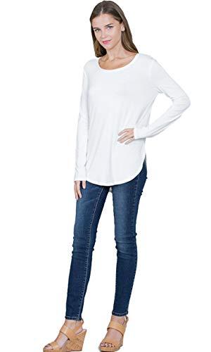 Emmas Closet Women's Basic Long Sleeve Round-Neck Top (Large, Ivory) (Off White Top Round)