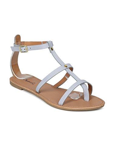 Alrisco Women Leatherette Open Toe Gladiator Flat Sandal HH69 - Ash Blue Leatherette (Size: 5.5)