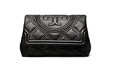 Tory Burch Women's Fleming Soft Black Leather Clutch Handbag,Large