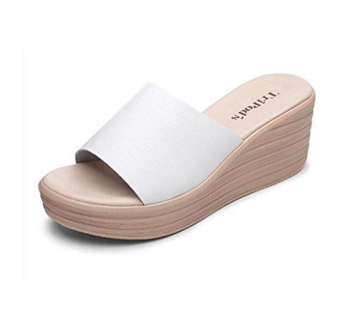 Slipper white slope with slippers female summer fashion wild sandals thick bottom word leisure high heel sandals Flat Sandals,Fashion sandals (Color : A, Size : 35) A