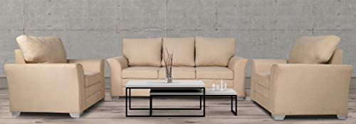 Adorn India Alexia Five Seater Sofa Set 3-1-1 (Beige)
