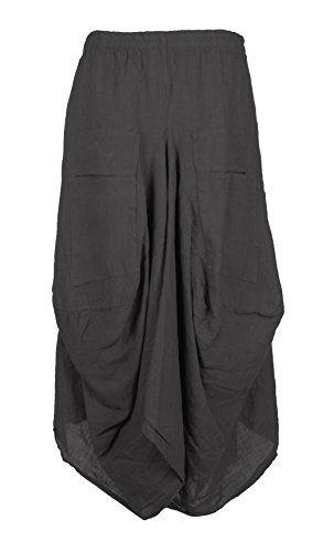 Ladies Womens Italian Lagenlook Quirky Plain Elasticated 2 Slit Pocket Parachute Asymmetric Tulip Hem Long Linen Boho Maxi Skirt One Size UK 8-16 (One Size, Dark (Tulip Linen)