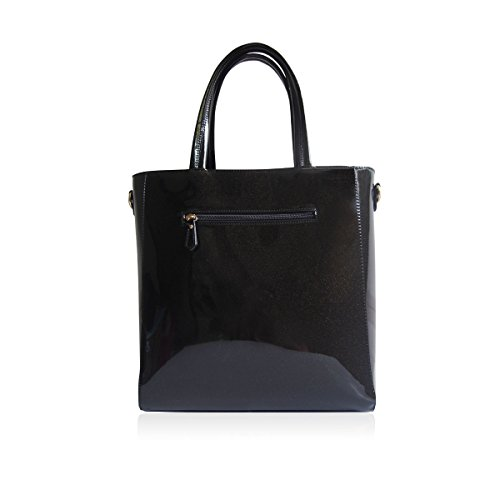Tote Grab Bow London with Black Glossy Strap Bag Handbags Shoulder Colour in Optional Various Colours LYDC IaXxwa