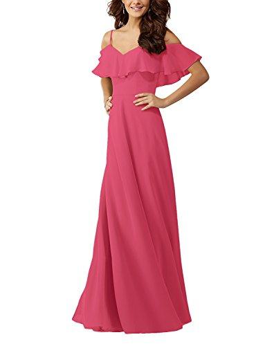 Off Long Gown Lafee Bridesmaid Watermelon Bridal Ruffles Women's Shoulder Dresses Evening Chiffon wWWOER0nq