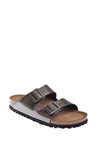 (Birkenstock Unisex Arizona Metallic Anthracite Leather Sandals - 9-9.5 2A(N) US Women/7-7.5 2A(N) US Men)