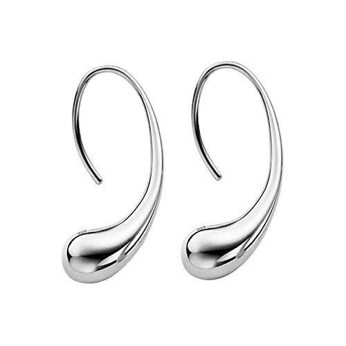 Women Girl Elegant Fashion Ear Stud Droplets Earrings Classic Smooth Puffed Thread Drop Teardrop Jewelry for Women Girls (Silver)