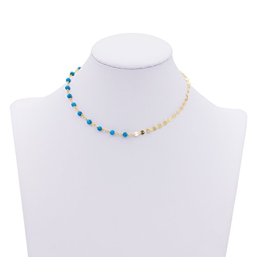 Boosic Adjustable Necklace Compress Turquoise Imitation Pearls