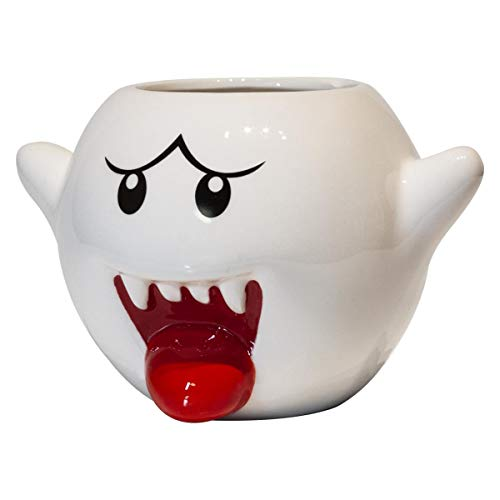 Super Mario Bros Vintage White Boo Molded Coffee Mug | 20 Ounce
