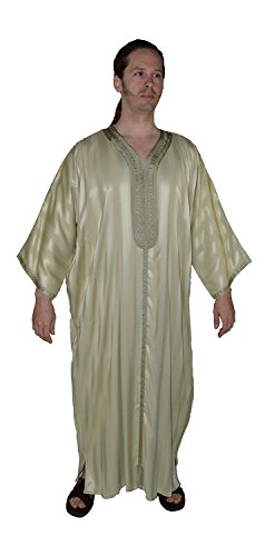 Moroccan Men Clothing handmade Caftan Gandoura With Tread Embroidery One Size Hooded Caftan