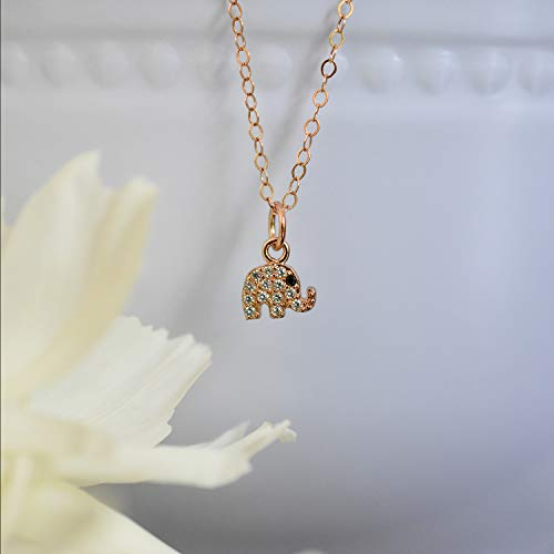 Sparkly Elephant Pendant Rose Gold Filled Necklace Jewelry Gift for Women 16 inches ()
