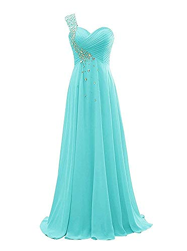 NOVIA Women's Long One Shoulder Beaded Celebrity Party Dresses Sweetheart Ruched Chiffon Long Maxi Wedding Formal Party Gowns Turquoise - Beaded Dress Ruched Prom