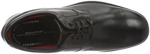 Rockport Charlesroad Plaintoe, Zapatos de Cordones Derby para Hombre Negro - negro
