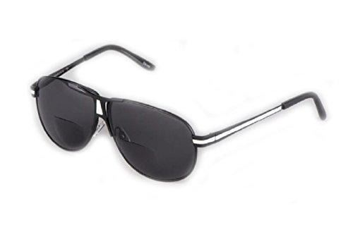 Herina, Outdoor Bifocal Sunglasses Design Classic - Polarized Bifocal Sunglasses (+150, Black Lens+White legs)