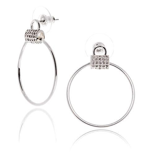 (CHARISMA Ladies silver platedcrystal Doorknocker stud earring)