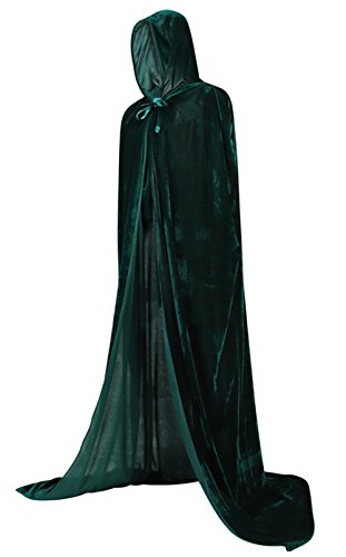 Hooded Cloaks (Frawirshau Unisex Hooded Cloak Cape Full Length Halloween Cosplay Costumes Masquerade Cloak Green)