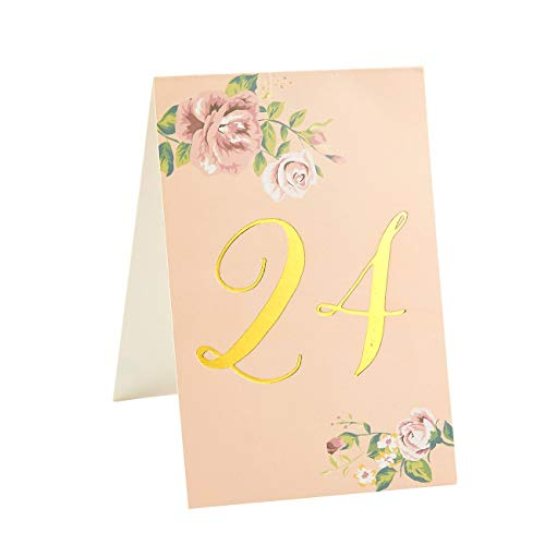 Blue Panda Table Numbers for Wedding 1-24 Floral with Gold Foil (4 x 6 -
