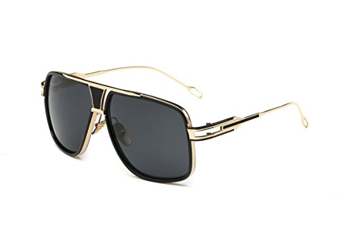 Gobiger Aviator Sunglasses for Men 100% UV Protection Goggle Alloy Frame 59mm Lens Width (Gold Frame, Grey) by GOBIGER