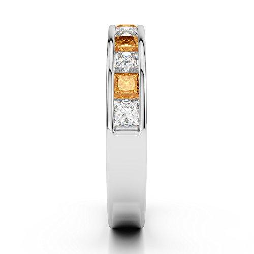 Or blanc 18carats 1/2ct G-H/VS Certifié Coupe Princesse Citrine et diamants Agdr-1137