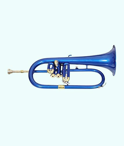 Global Art World Stylish And Stunning 3 Valve Blue Coloured Lacquered Flugel Horn MI 094 by Global Art World