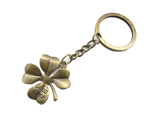Ancient Bronze Four Leaf Clover keychain, Lucky Charm keychain, 4 Leaf, Good Luck keychain (Clover Key Charm)