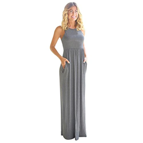 Price comparison product image Hot Sale! Plus Size Dress, Women Sleeveless Solid Pocket Long Dresses Summer Casual Party Daydresses (Gray,  XXL)