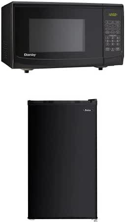 Danby 0.7 cu. ft. Microwave Oven, Black and Danby Compact Refrigerator, 3.2 Cubic Feet, Black